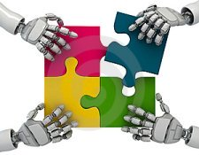 image of robot hands and puzzel