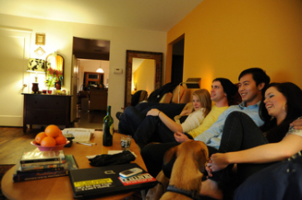 image of family watching TV