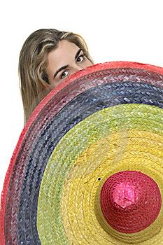 image of girl befind sombrero