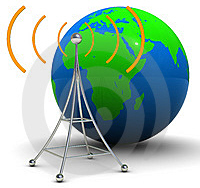image of radio tower and world