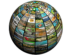 picture of TVs on a globe