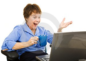 picture of happy lady on laptop