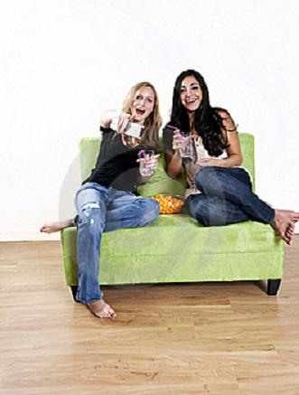 picture of girls enjoying tv